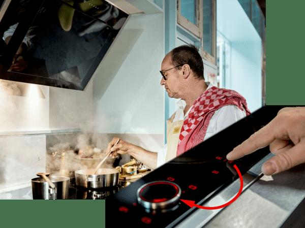 Kochfeldbasierte haubensteuerung neff